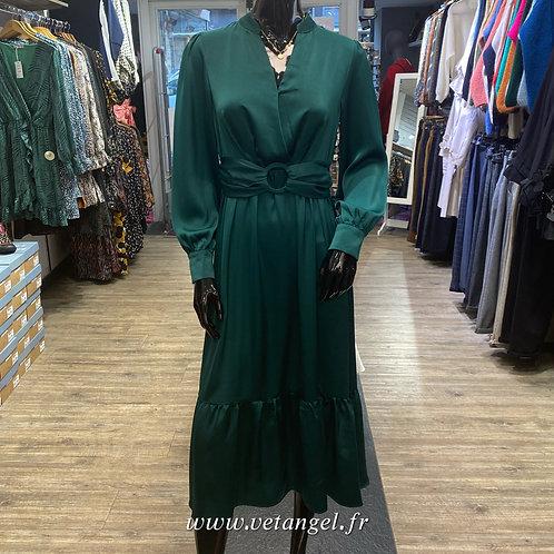 Robe mi-longue Amandine satinée vert sapin