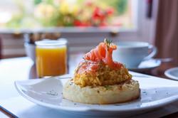 Salmon & Scrambled Egg on Crumpet