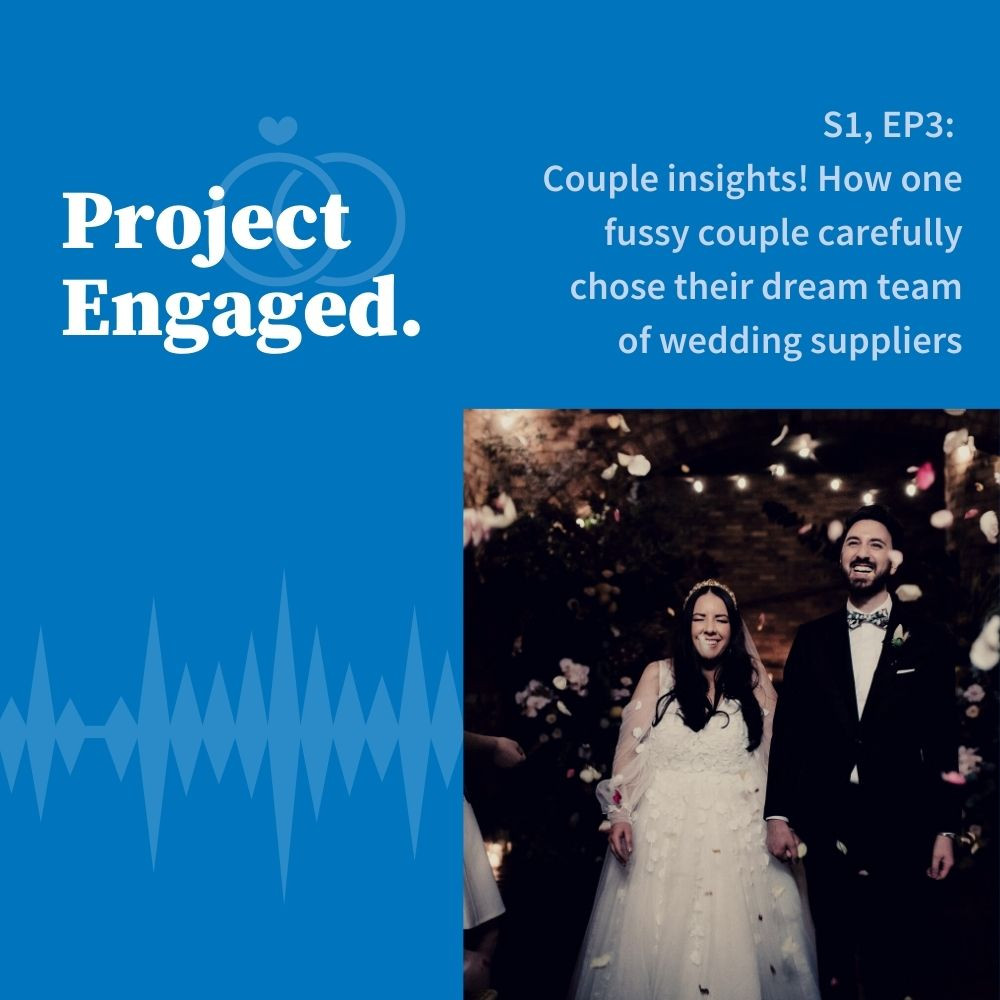 Bride and groom smile as guests throw flower petals in a brick walled venue. Photo is on a blue graphic with podcast episode title.