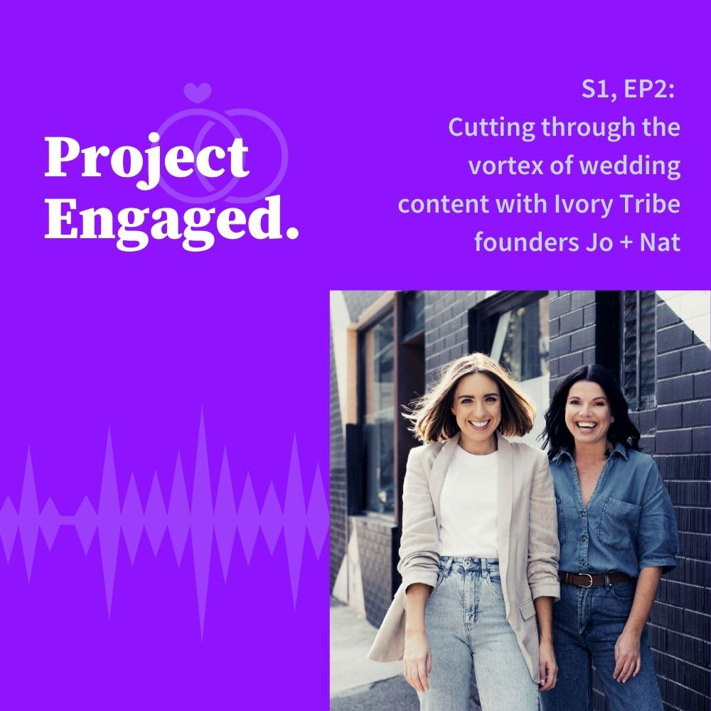 Two females pose against a brick building on a purple graphic with a podcast episode title.