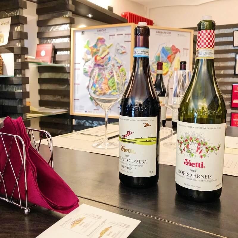 Roero Arneis and Dolcetto d'Alba wine tasting at Vietti winery in Castiglione Falleto in Barolo DOCG zone.