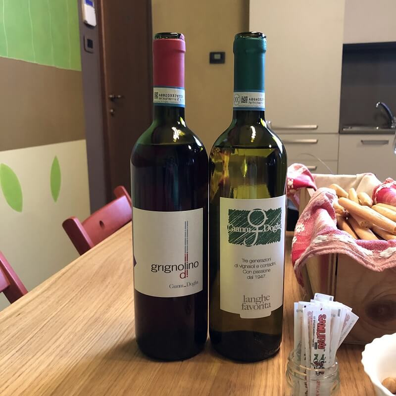 Two bottles of Italian wine - Grignolino and Favorita varieties from Gianni Doglia tasted on a wine tasting tour at a winery in Piedmont region