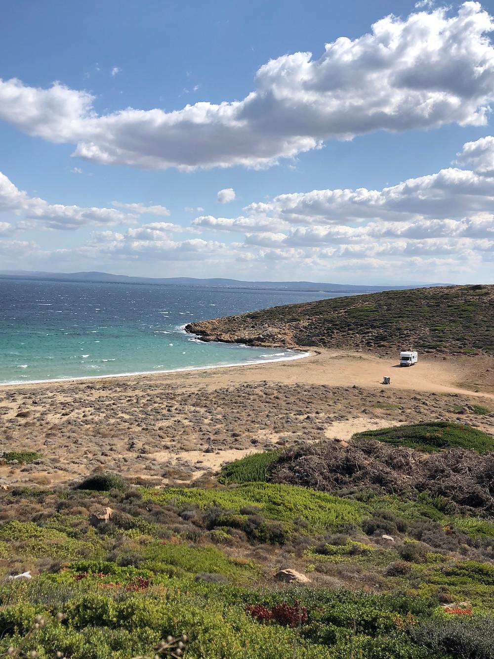 wild sandy beach on Bozcaada island in Turkey