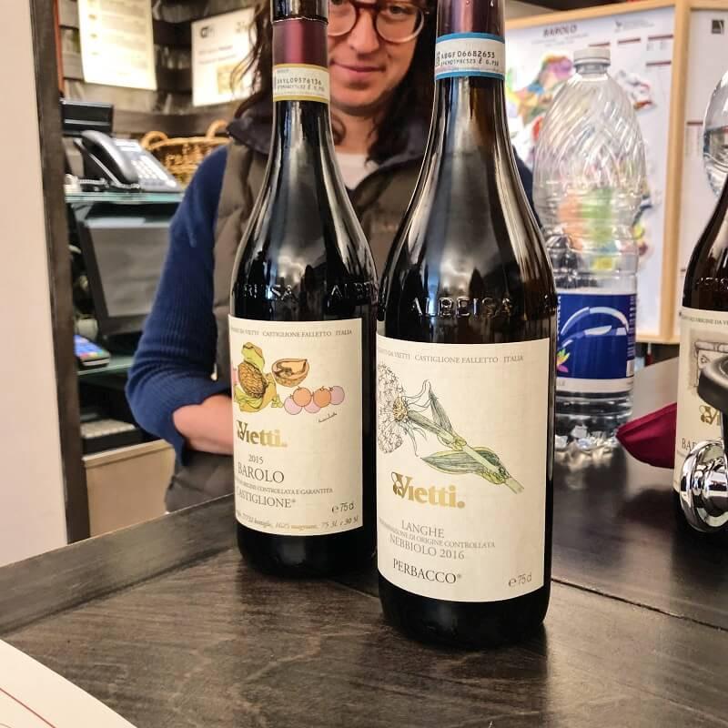 Langhe Perbacco and Barolo Castiglione wine tasting at Vietti winery in Castiglione Falleto Barolo DOCG zone.