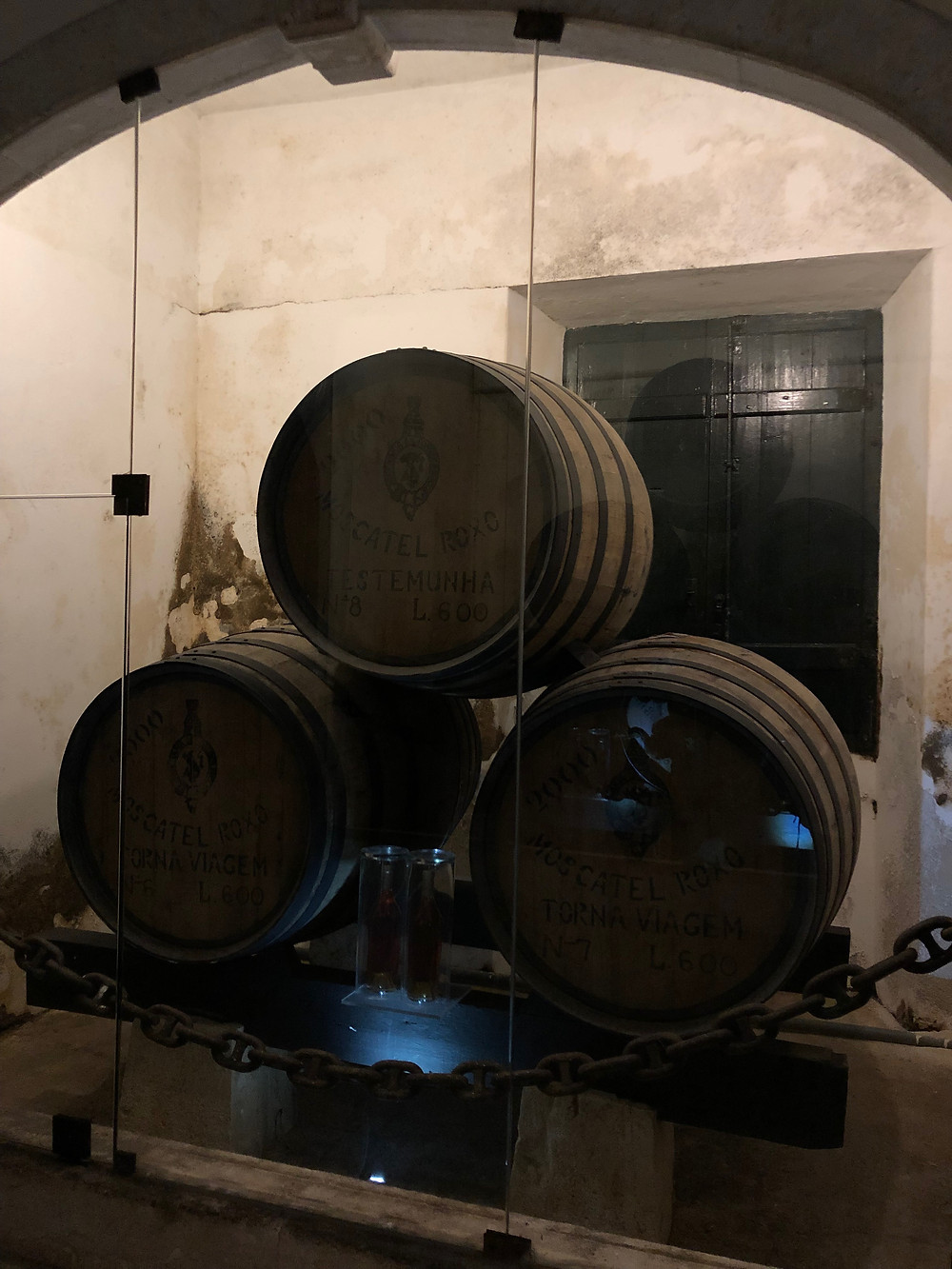winery tour in Setubal wine region and torna viagem wine barrels of Moscatel Roxo de Setubal from José Maria da Fonseca that sailed to South and North America