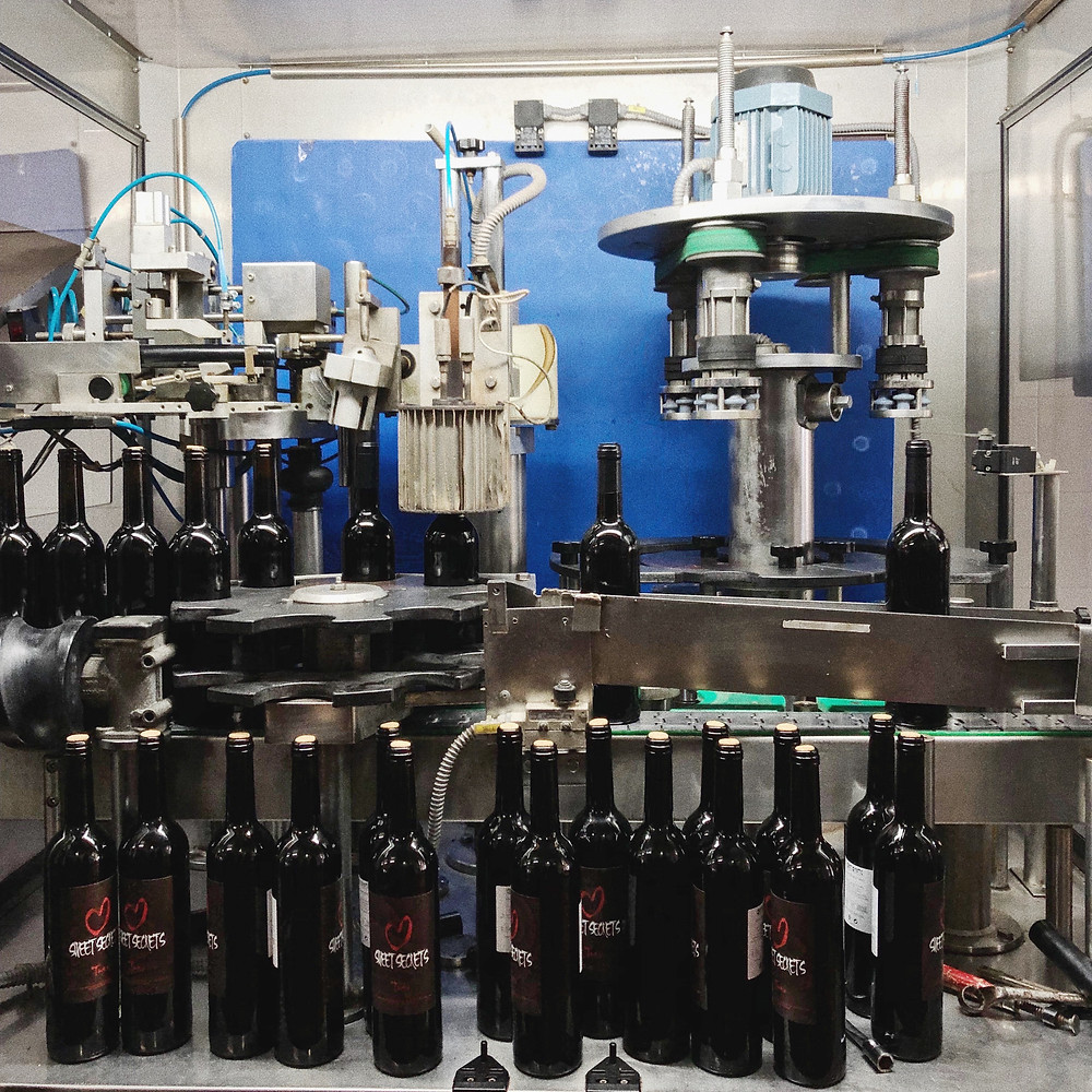 wine bottling machine during winery visit and tour with tasting at Quinta da Plansel in Alentejo wine region