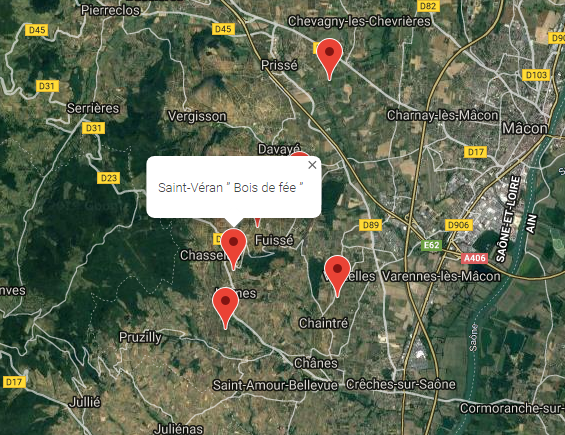 map of Domaine Thibert vineyards in Pouilly-Fuisse wine region and Southern Macon with Bois de Fee Saint Veran marked