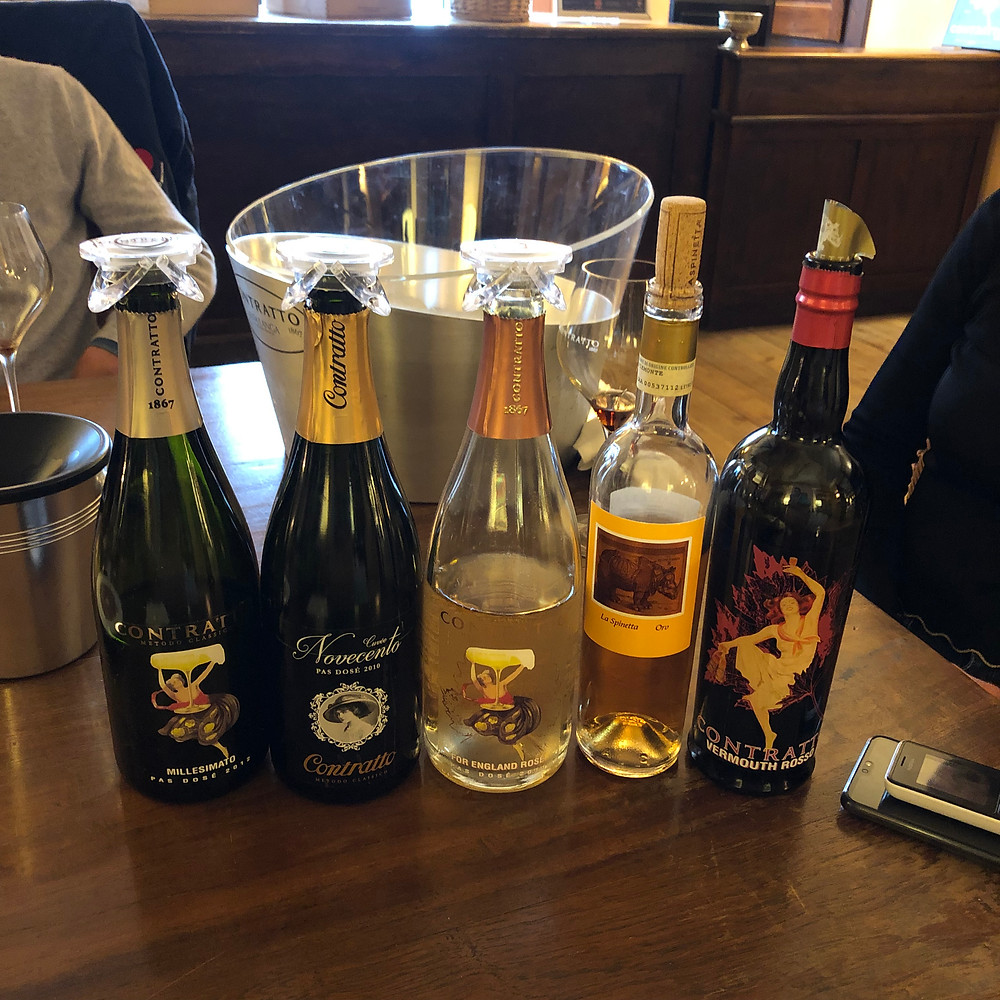 Italian sparkling wine tasting in Piemonte in Alta Langa DOCG in Canelli during a visit to Contratto winery