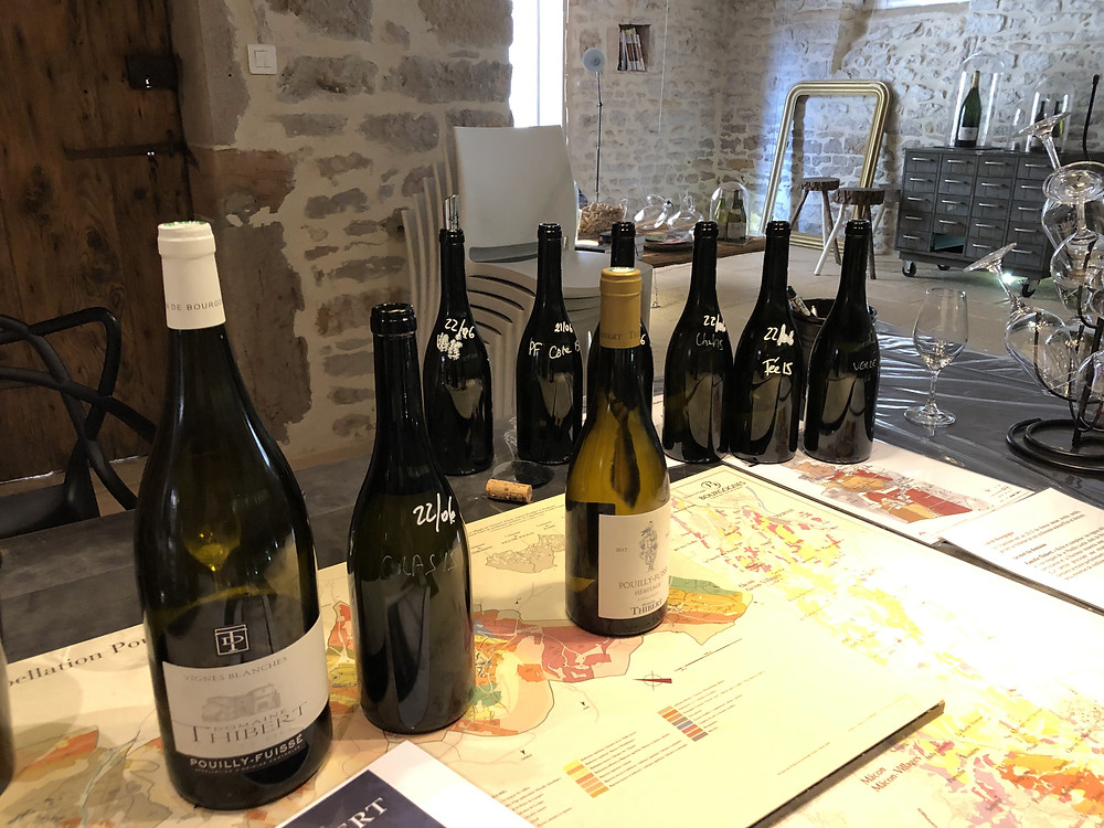 wine tasting at Domaine Thibert Pere et Fils in Pouilly-Fuisse wine region, Fuisse village