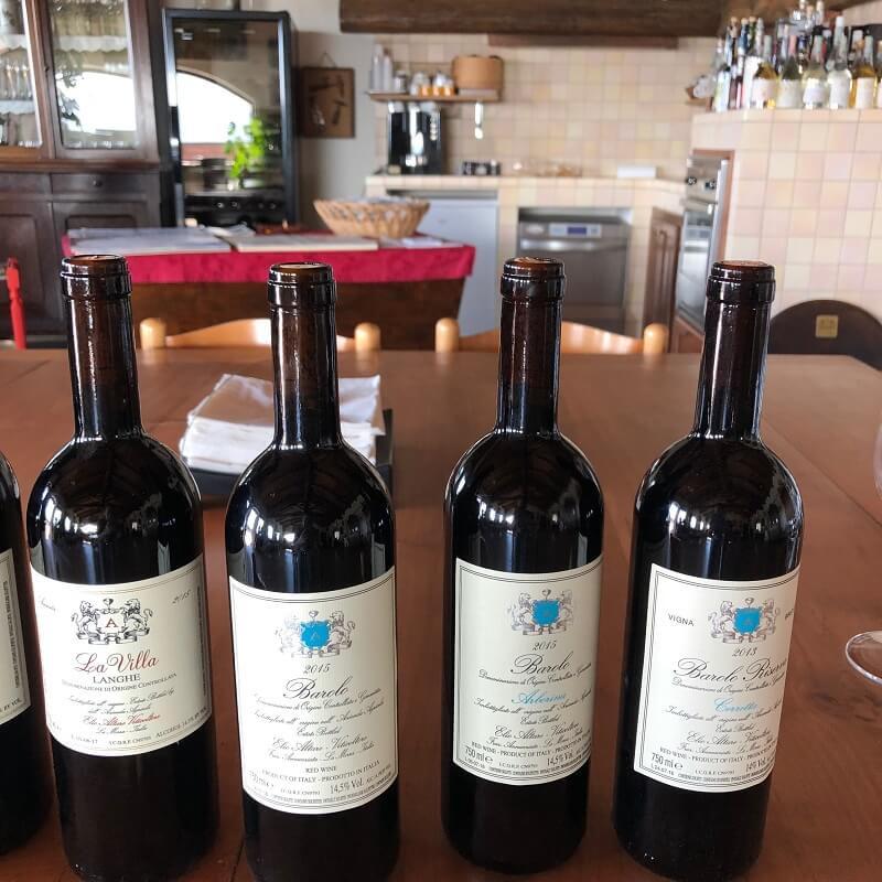 Bottles of Barolo wine during wine tasting and visit to Elio Altare in La Morra - Langhe La Villa, Barolo DOCG, Barolo Arborina DOCG, Barolo Cerretta DOCG