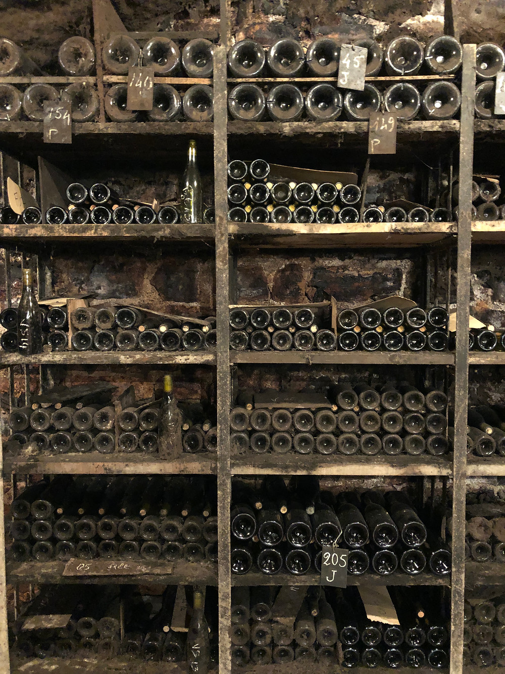 Old wine bottles in Meursault at the underground cellar of Jean Marie Bouzereau spotted during a winery visit and tasting during my Burgundy wine study trip