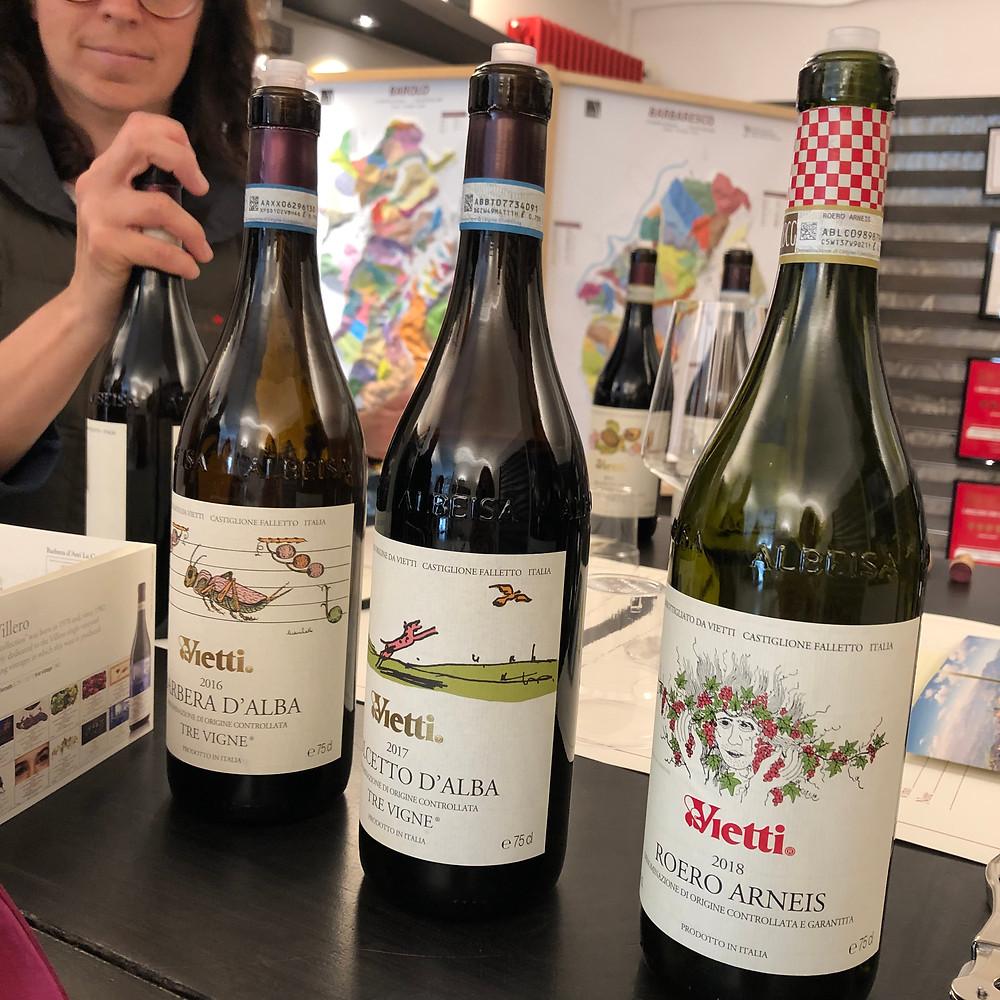Barbera d'Alba, Dolcetto d'Alba and Roero Arneis wine tasting at Vietti winery in Castiglione Falleto in Barolo DOCG zone.