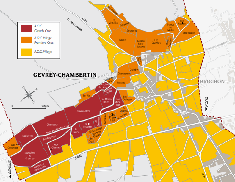 Gevrey-Chambertin AOC appellation map with Grand Cru, Premier Cru and Village vineyard climats