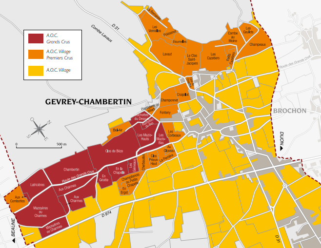 map of Gevrey-Chambertin AOC with Grand Cru, Premier Cru and VIllage vineyards