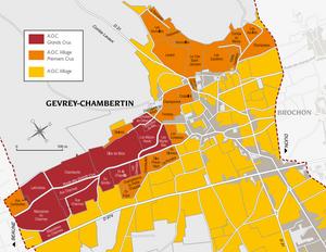 map of Gevrey-Chambertin AOC with Grand Cru, Premier Cru and VIllage vineyards