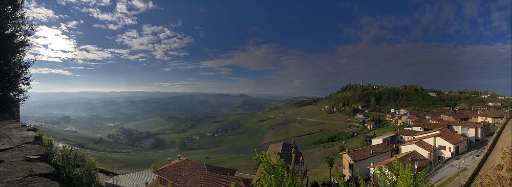 Panorama 360 view of Barolo DOCG vineyards taken from La Morra town on my way to Elio Altare winery