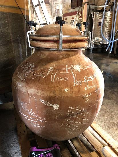Amphora wine making in a biodynamic winery in Bordeaux