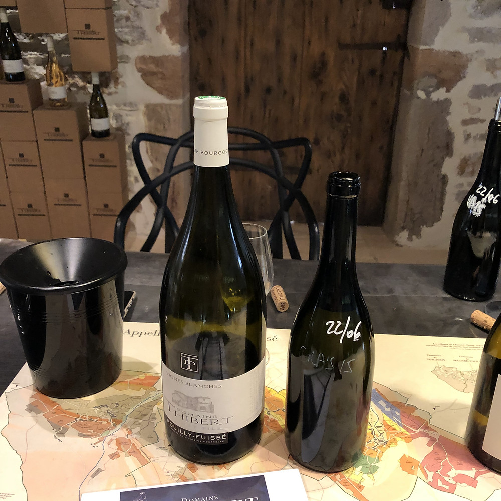 Pouilly-Fuisse vintage wine tasting at Fuisse village at Domaine Thibert Pere et Fils tasting Vignes Blanches 2010 and 2015