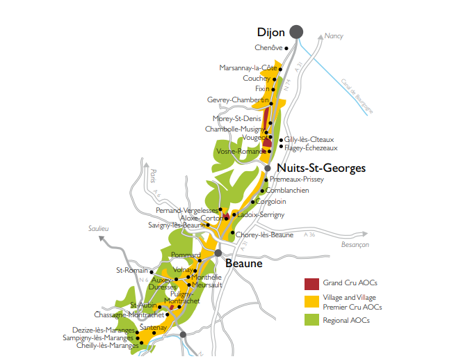 map of Cote d'Or wine region with division on to Cote de Beaune and Cote de Nuits Saint Georges