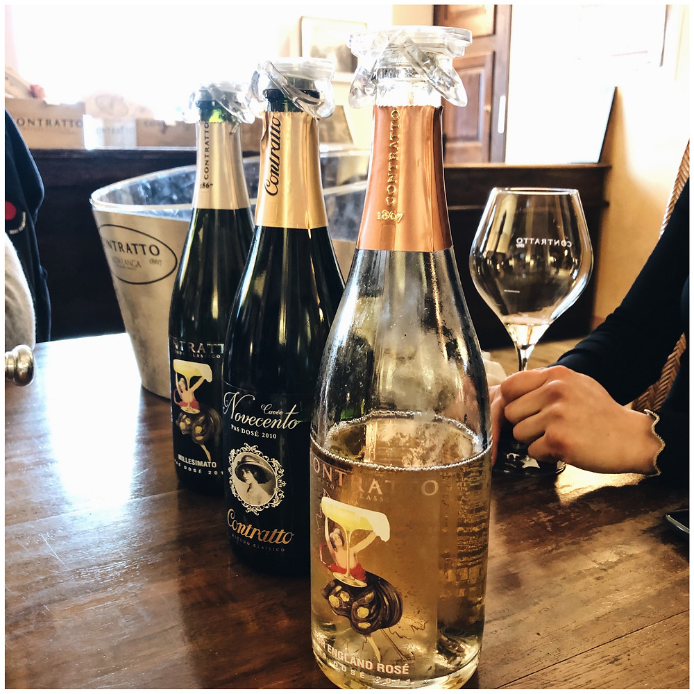 Tasting sparkling wines at Contratto winery in Alta Langa DOCG during my wine study trip to Piemonte