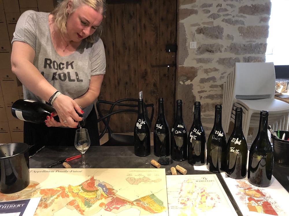 Wine tasting at Domaine Thibert Pere et Fils with Sandrine tasting Vignes Blanches 2010 Pouilly Fuisse