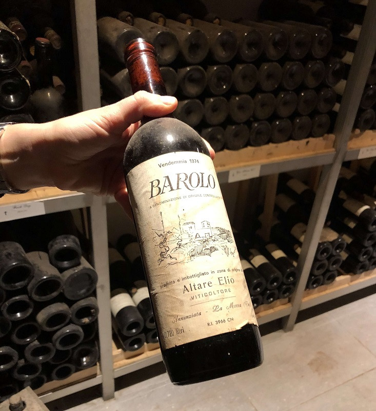 Elio Altare Barolo DOCG first vintage 1974 at the private family wine library in La Morra