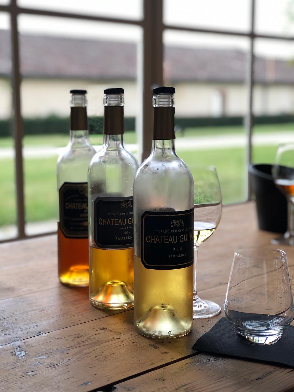 Vertical tasting of organic Sauternes wine at Chateau Guiraud 1er Cru Classe