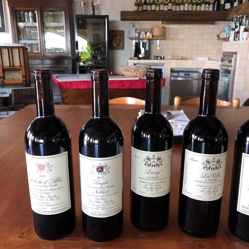 Bottles of wine on a wine tasting at Elio Altare - Dolcetto d'Alba, Langhe Nebbiolo, Larigi Langhe, Langhe La Villa DOC