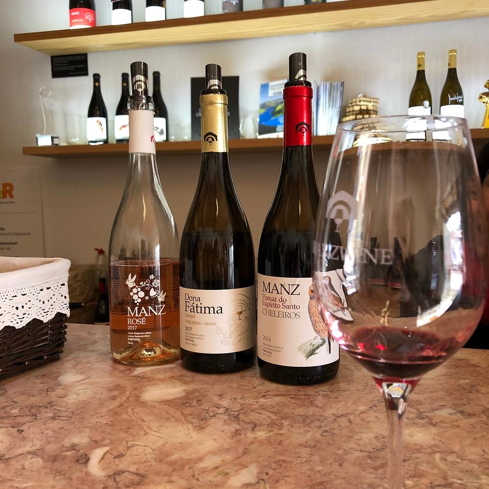 wine tasting and tour at Manz winery and bottles of Manz Rose, Dona Fatima Jampal, Manz Pomar do Espirito Santo wines from Cheleiros Lisbon wine region