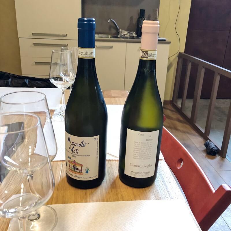 Classical Moscato d'Asti and Moscato d'Asti Casa di Bianca from Gianni Doglia during a wine tasting tour in Castagnole delle Lanze
