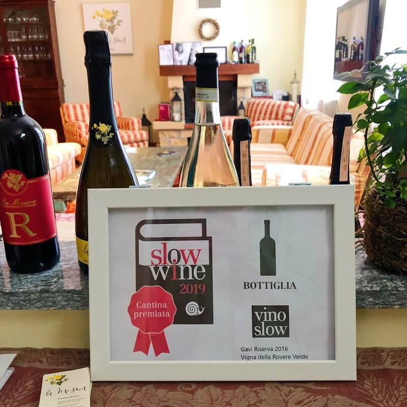 Frame with a certificate of Slow wine award for La Mesma Gavi Riserva DOCG vino slow in the winery's tasting room