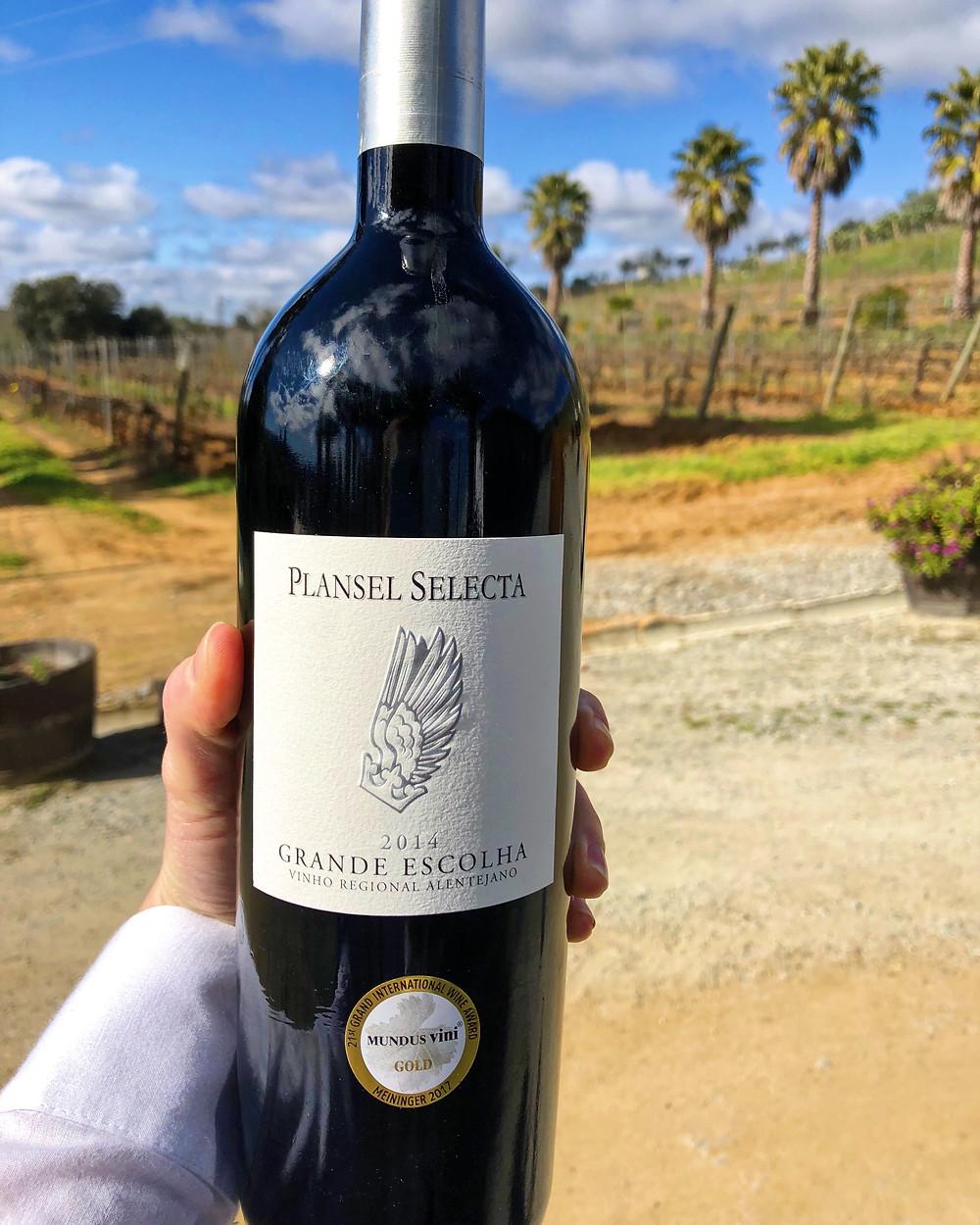 wine bottle of Plansel Grande Escolha 2014 Alentejo regional wine during Quinta da Plansel winery tour