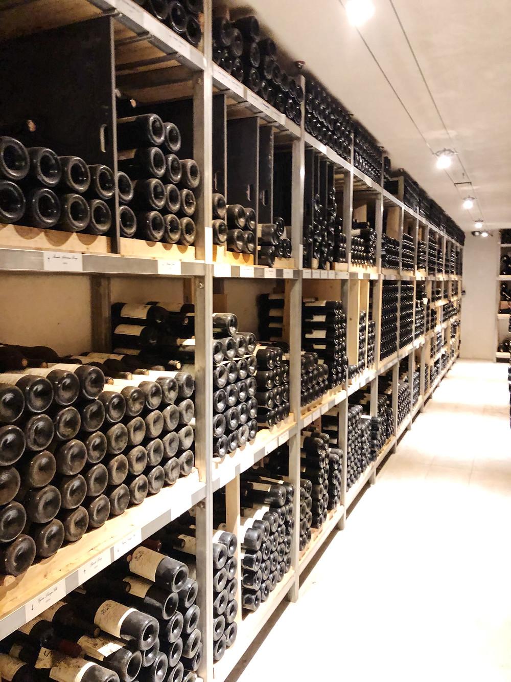wine cellar full of Barolo bottles at Elio Altare in La Morra