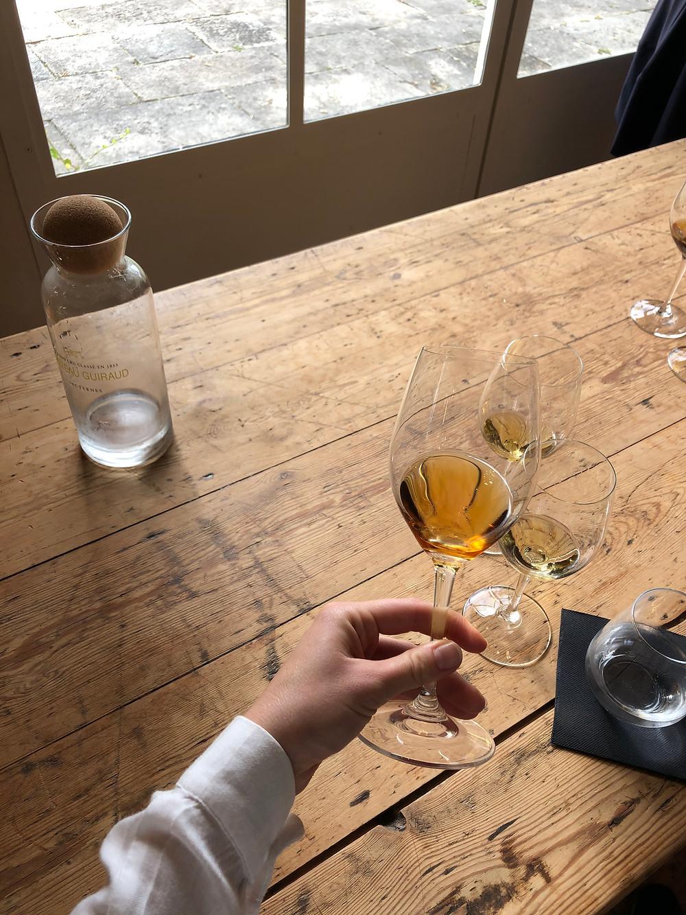 Vertical Sauternes wine tasting at organic winery Chateau Guiraud Premier Grand Cru Classe in Sauternes village