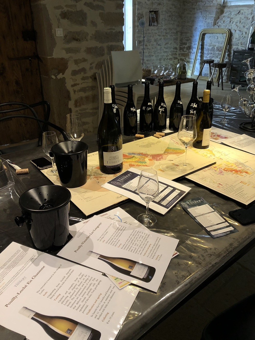 Pouilly-Fuisse winetasting in Fuisse village at Domaine Thibert Pere et Fils discussing the terroirs and climats of Pouilly Fuisse