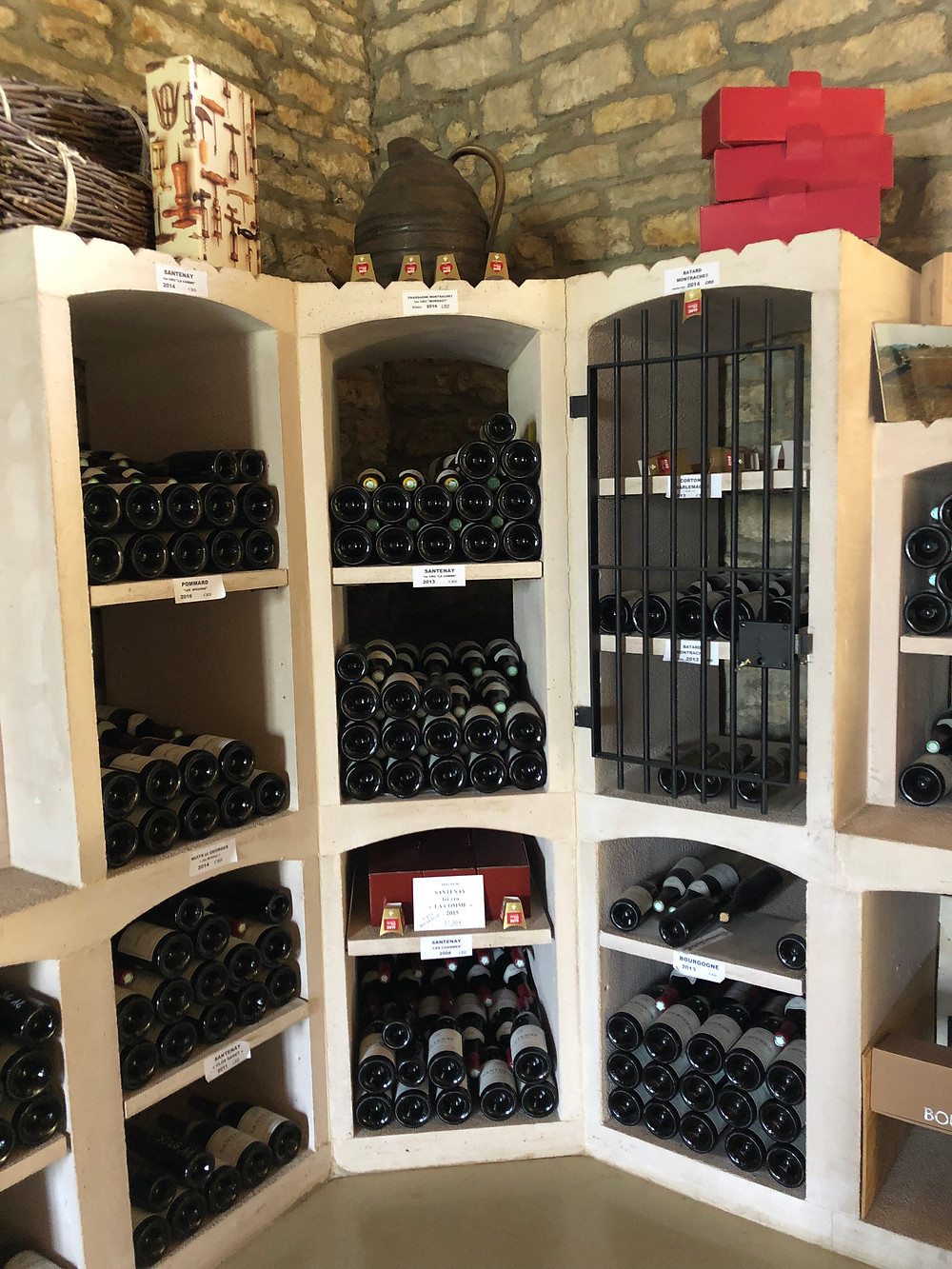 at the wine cellar of Domaine Louis Lequin in Santenay tasting their wines from all Cote de Beaune