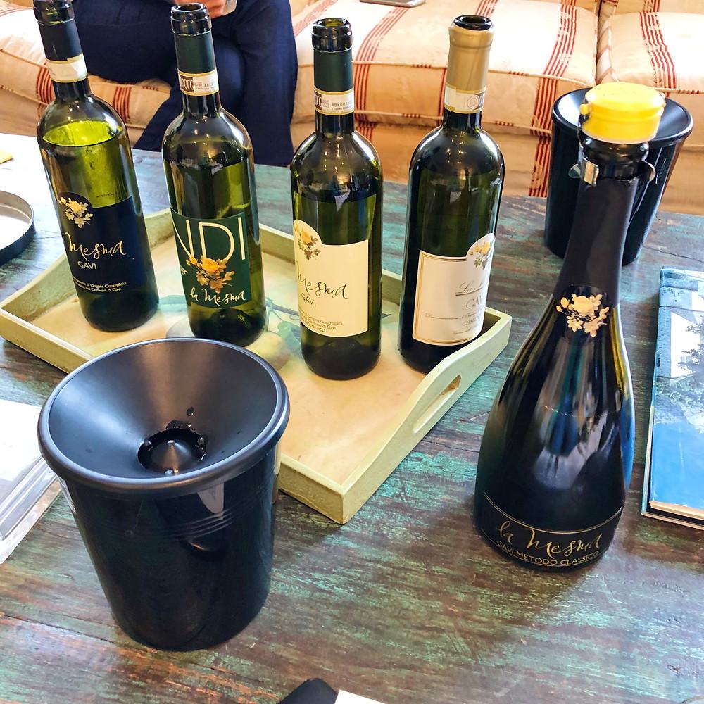 wine tasting in La Mesma Gavi wine Riserva Black Label, Yellow Label, INDI natural organic wine
