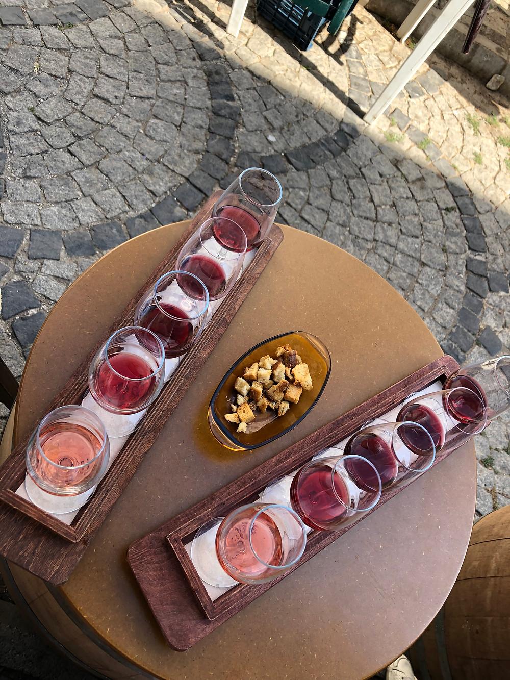 Turkish wine tasting at Talay winery wine bar on Bozcaada island