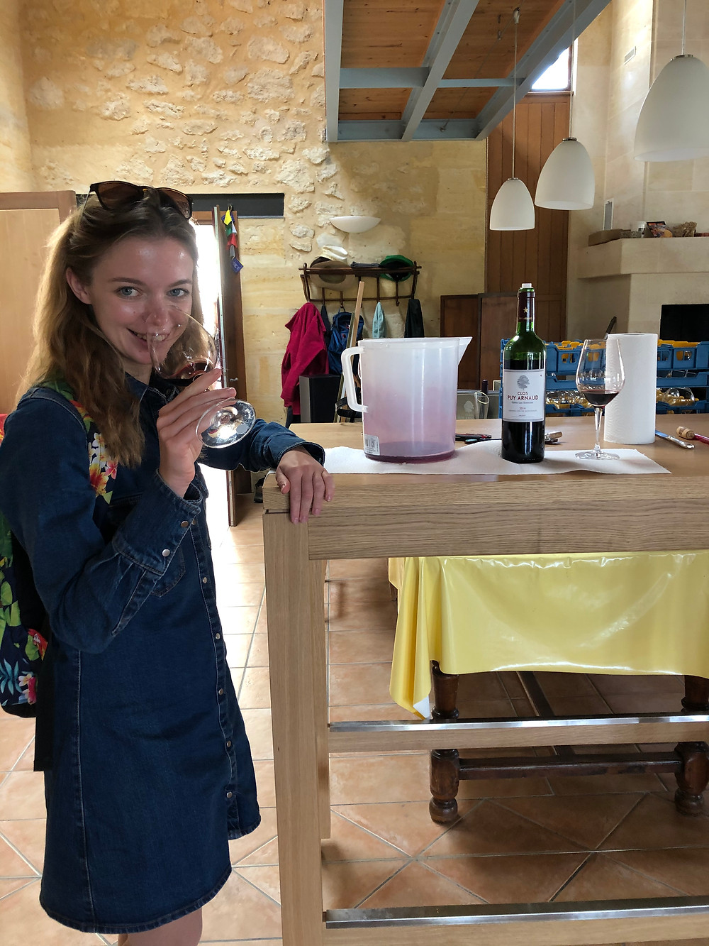 wine tasting in biodynamic winery Clos Puy Arnaud in Castillon Bordeaux