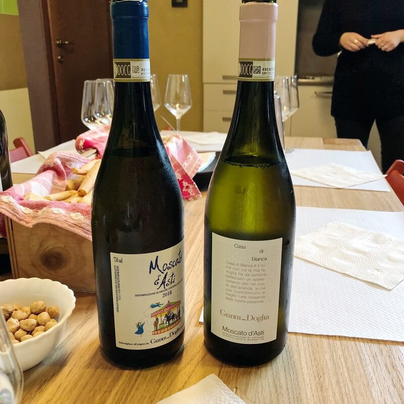 Bottles of Moscato wine at Gianni Doglia winery in Castagnole delle Lanze on a moscato wine tasting experience