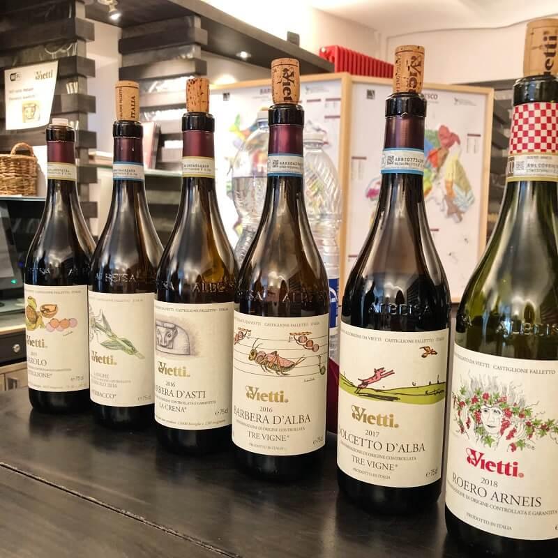 Barolo Castiglione, Barbera d'Asti, Barbera d'Alba, Dolcetto d'Alba, Roero Arneis wine tasting at Vietti winery in Castiglione Falleto in Barolo DOCG zone Piemonte.