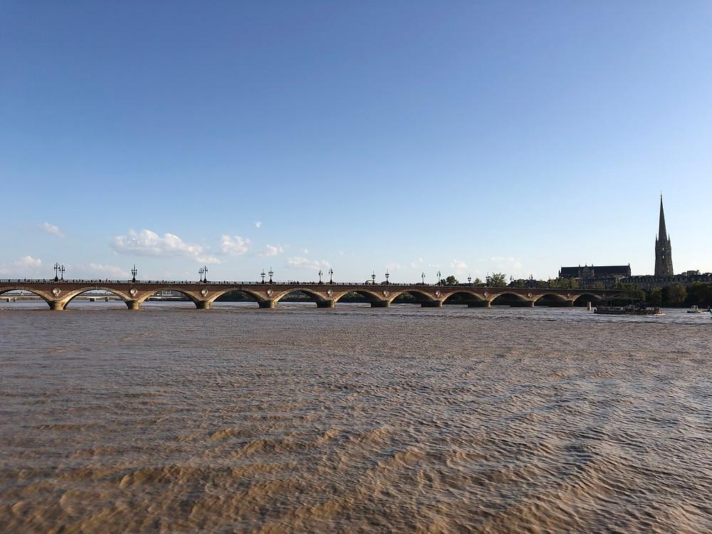 Garonne Bordeaux river and bridge view