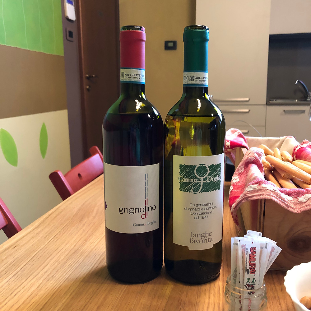 Grignolino and Langhe Favorita wine tasting at Gianni Doglia during a winery visit and wine tour in Piemonte