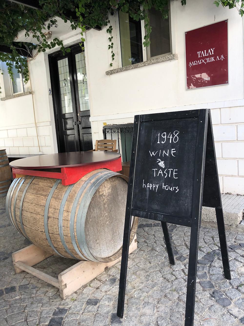 wine tasting at wine bar at Talay Wine House on Bozcaada Island in Turkey