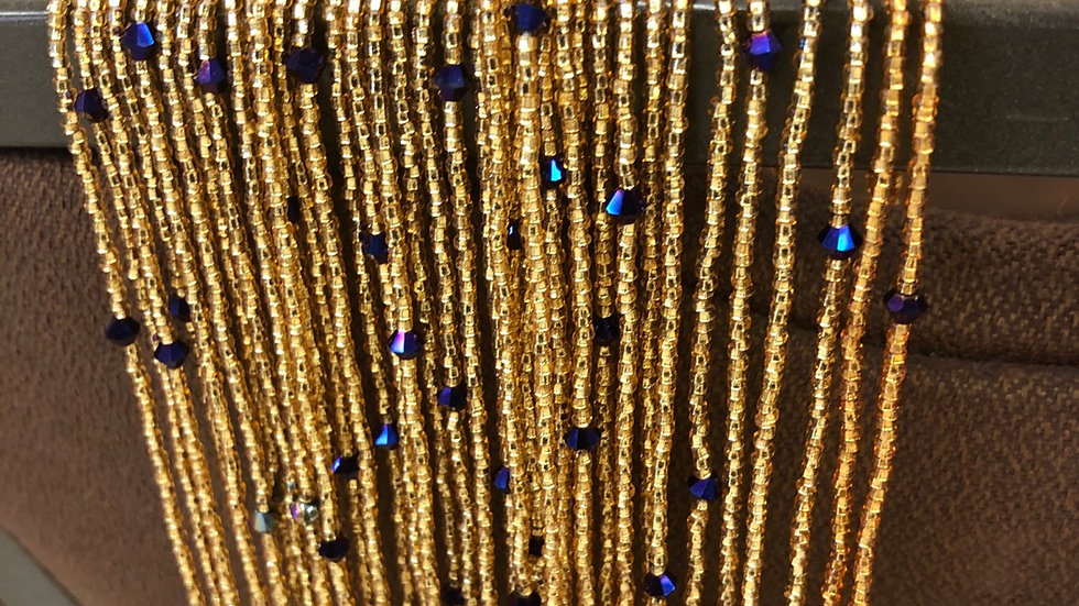 African Waist Beads (purple and gold)