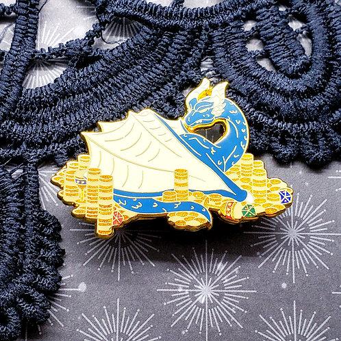 Blue Hoarder Dragon Enamel Pin