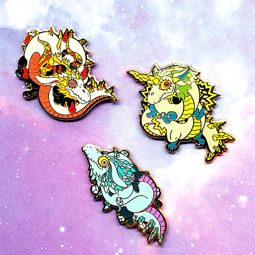 Gold Plated Dragons Enamel Pins