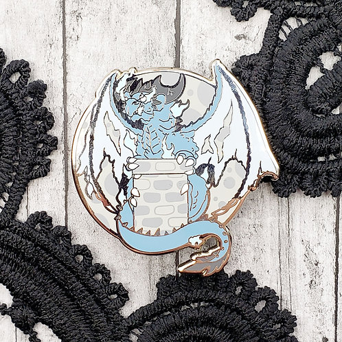 Ice Moon Dragon Enamel Pin