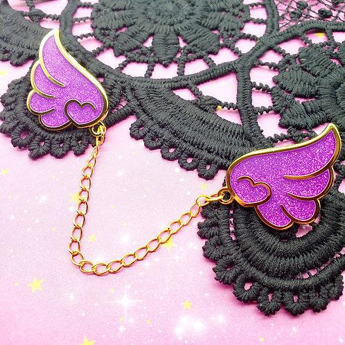 Purple Glitter Wings Enamel Pin Set