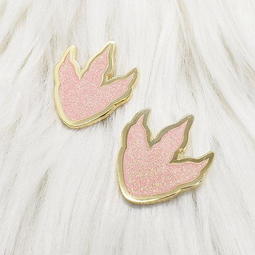 Pink Glitter Dino Tracks Enamel Pin Set